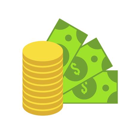ドルと金のアイコンを分離しました。緑の硬貨、紙幣のスタック。金融のサイン。フラットお金のベクター アイコン。ビジネス シンボル。現金アイ