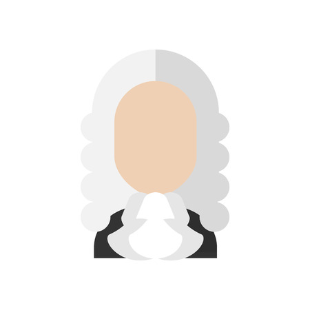 Judge wig man flat icon. Lawyer vector illustration. Job symbol. Legal character isolated icon. Traditional costume court profession Illustration