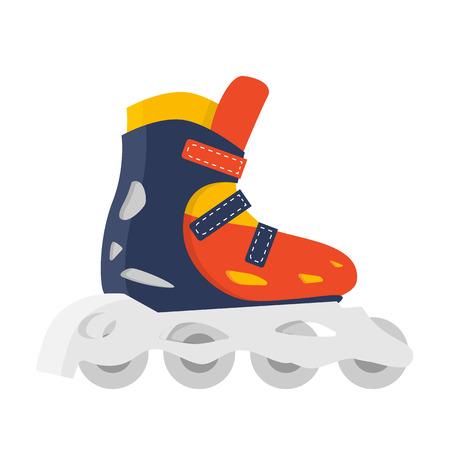 롤러 스케이트 격리 된 벡터입니다. 야외 재미 여름 라이프 스타일입니다. 롤러 스케이팅 그림입니다. 빨간 구두. 여름 피트니스 빨간색 액세서리입니