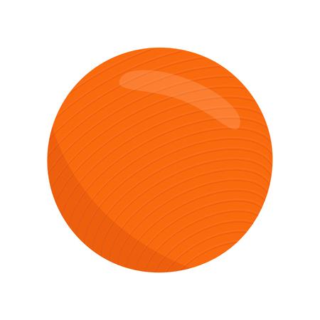 ejercicio aeróbico: bola de ajuste, el material de deporte. vector fitball aislado icono. Salud círculo aeróbico. bola de la aptitud aislado. pelota de ejercicio plana de Orange