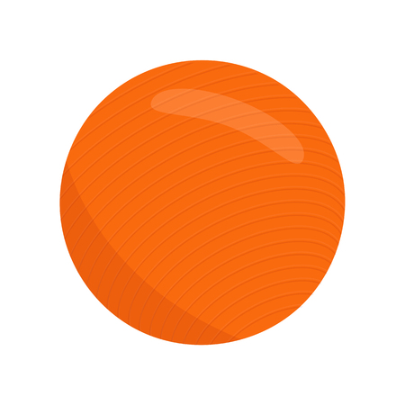 Fit ball, sport equipment. Fitball vector isolated icon. Health aerobic circle. Fitness ball isolated. Orange flat exercise ball