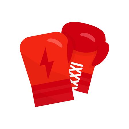 ボクシング グローブはベクトル イラストです。ボクシング グローブ フラット アイコン。ボクシング グローブがぶら下がっています。赤いボクシ