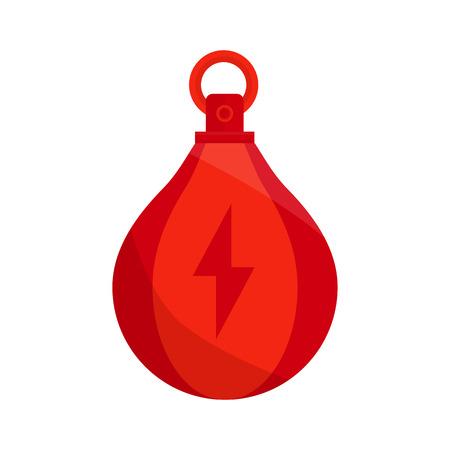 ボクシング バッグ ベクトル アイコン。Punchbag は、白い背景の上の平坦図を隔離しました。雷赤ボクシング パンチ  イラスト・ベクター素材