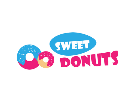 topping: Vector donut icon. Sugar donut illustration. Glazed sweet donut with topping. Donut for bakery menu, cafe, restaurant. Emblem template