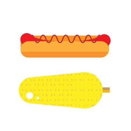 フラットのホットドッグのイラスト。野菜とウインナーのアイコンの通り。新鮮なトウモロコシのベクトル。グリル分離アメリカは、白い背景をホ