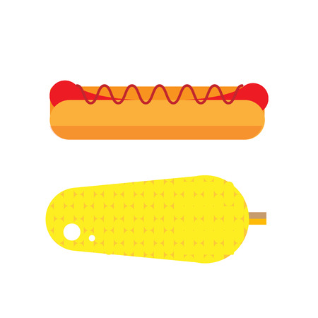 wiener: Flat hot dog illustration. Street vegetable and wiener icon. Fresh corn vector. Isolated american grilled hot-dog on white background. Street fast food Illustration