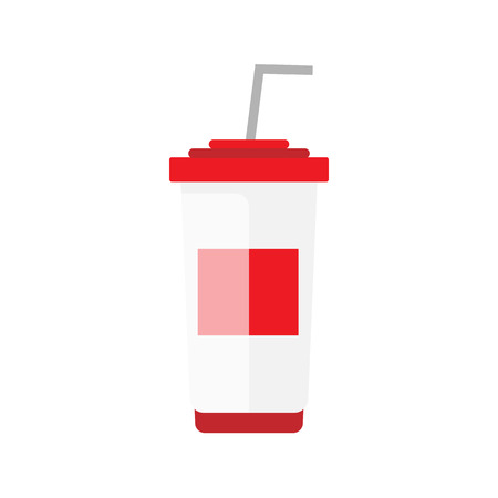 strips away: Flat soda takeaway illustration. Street drink icon. Cold white red container vector with straw. Isolated cola on white background. Street fast food