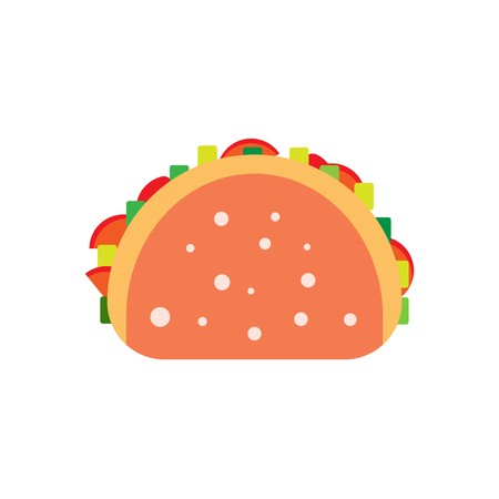 food plate: Flat burrito illustration. Street meal tortilla icon. unhealthy taco vector. Isolated fajitaon white background. Street fast food