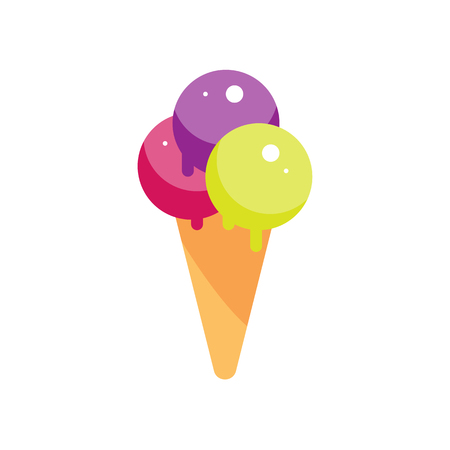icecream: Flat ice cream cone illustration. Street sweet dessert icon. ice-cream vector. Isolated cartoon strawberry creme white background. Street fast food Illustration