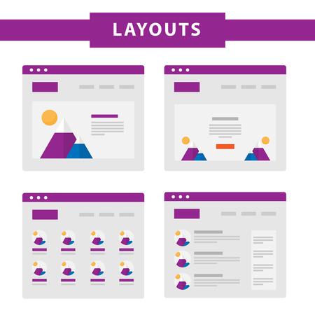 シンプルなフラット ウェブサイト テンプレートのセット。Web ワイヤ フレーム ベクトル。Ux インタ フェース ページのデザイン。試作例。Web レイア