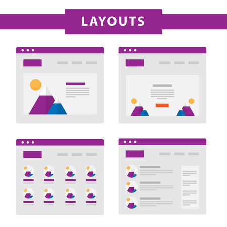 prototype: Set of simple flat website templates. Web wireframe vector. Ux interface page design. prototype example. Web layouts