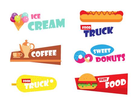 アイスクリーム、ハンバーガー、ホットドッグ、ベーカリー メニューのカフェ、レストランの高速食品ラベルのセットです。甘いドーナツ エンブレ