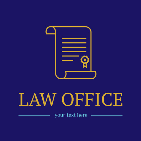 Law office. The judge, Law firm template, lawyer icon of vintage labels. Gold line badge roll and. Dura lex, sed lex quote. On blue background