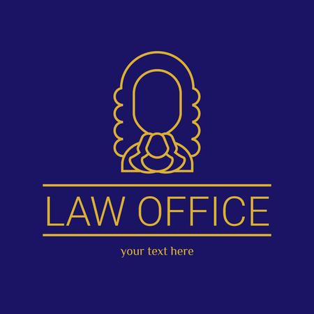 法律事務所。裁判官は、法律事務所のテンプレート、ビンテージ ラベルの弁護士セット。ゴールド ライン裁判官。硬 lex、セッド lex 引用。黒い背景  イラスト・ベクター素材