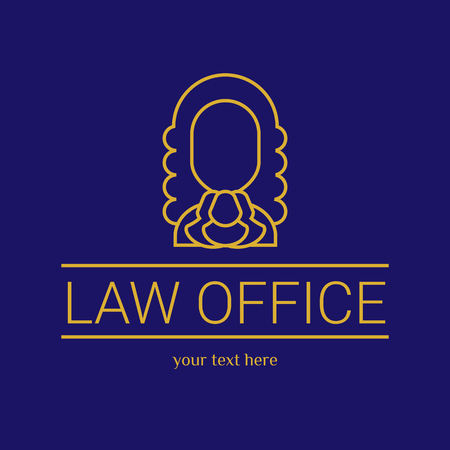 firm: Law office. The judge, Law firm template, lawyer set of vintage labels. Gold line judge. Dura lex, sed lex quote. On black background Illustration