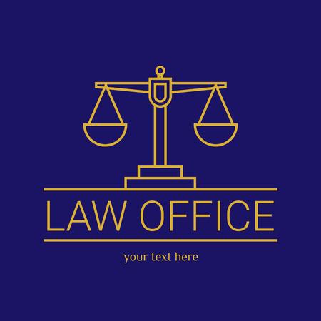 法律事務所。裁判官は、法律事務所のテンプレート、ビンテージ ラベルの弁護士セット。ラインは、テミスをスケーリングします。硬 lex、セッド le
