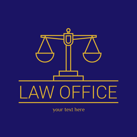 dura: Law office. The judge, Law firm template, lawyer set of vintage labels. Line scales Themis. Dura lex, sed lex quote. On blue background Illustration