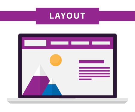 prototype: Set of simple flat website templates. Web wireframe vector. Ux interface page design. prototype example. Web layouts on laptop screen