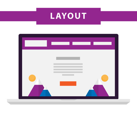web portal: Set of simple flat website templates. Web wireframe vector. Ux interface page design. prototype example. Web layouts on laptop screen