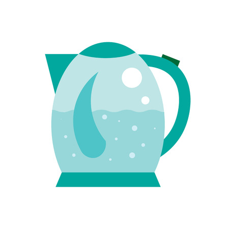 air bubbles: Boiling water in Electric kettle illustration. Hot teapot with air bubbles flat icon. Isolated round kettle on white background.