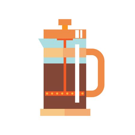 infuser: Modern Glass Teapot with Infuser. Tea, coffee kettle illustration. Hot teapot flat icon. Isolated straight lines kettle on white background.