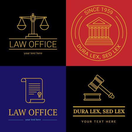 法律事務所のコレクション。裁判官は、法律事務所のテンプレート、ビンテージ ラベルの弁護士セット。ラインは、ハンマー、ロール、体重計テミ  イラスト・ベクター素材