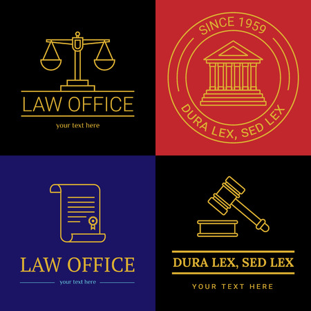 Law office collection. The judge, Law firm template, lawyer set of vintage labels. Line badges hammer, roll and scales Themis. Dura lex, sed lex quote. Illustration