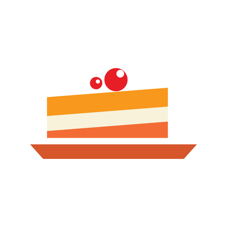 blueberry muffin: Berry cake simple illustration. Dessert icon, closeup sweet pie. Flat icolated object on white background Illustration