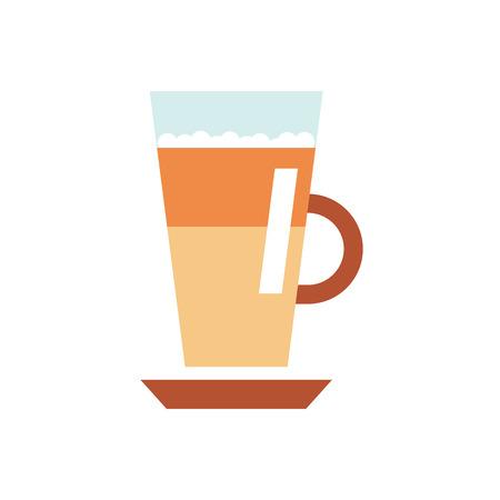 ラテ コーヒー フラット ベクトル イラスト。白い背景の上の隔離されたカプチーノ web アイコン