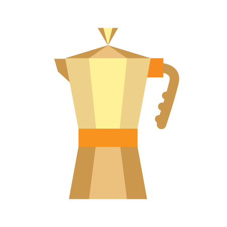 金のコーヒー メーカー分離に白背景。欧州のフラット コーヒー ポット アイコン。光沢のある伝統的なヴィンテージ金属オブジェクト  イラスト・ベクター素材