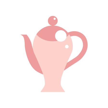 磁器コーヒー ポットのベクター イラストです。欧州、英国の伝統的なピンク セラミック ティー ポット。白い背景の上のヴィンテージ サークル分