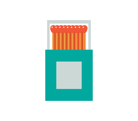 smoke stack: Matchbox vector illustration. Matches flat icon. matchstick isolated on white background