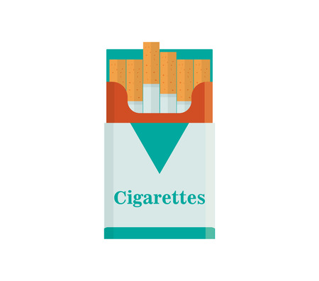 nicotine: Pack of cigarettes vector illustration. Tobacco smoke flat icon. nicotine cigarette isolated on white background. addiction cigarette