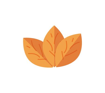 담배 벡터 일러스트 레이 션. 담배 연기 평면 아이콘입니다. 흰 배경에 고립 된 니코틴 나뭇잎