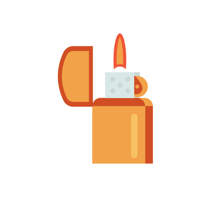 gas lighter: Lighter vector illustration. gas flame flat icon. fire gasoline metal lighter isolated on white background