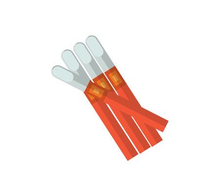 シガリロはベクトル イラストです。タバコの煙フラット アイコン。ニコチン タバコは、白い背景で隔離。キューバのシガリロ