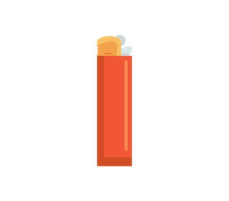 ライターのベクター イラストです。ガス炎フラット アイコン。ガソリン プラスチック ライター白い背景で隔離の火災します。  イラスト・ベクター素材