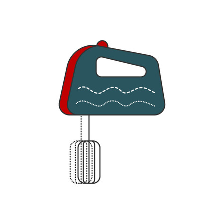 single whip: Kitchen hand mixer icon. Modern and simple isolated Flat design. Vector illustration. Line and filled icon. Illustration