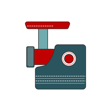 raw meat: Simple and modern kitchen meat grinder icon. Flat filled line indoor kitchen appliances design. Kitchen equipment for mince meat. Cooking raw meat. Flat vector kitchen meat grinder