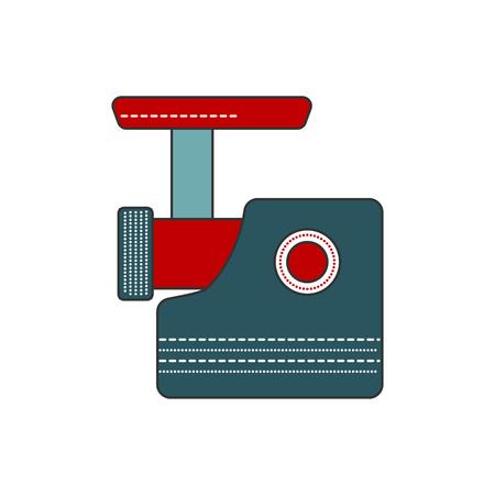 meat grinder: Simple and modern kitchen meat grinder icon. Flat filled line indoor kitchen appliances design. Kitchen equipment for mince meat. Cooking raw meat. Flat vector kitchen meat grinder