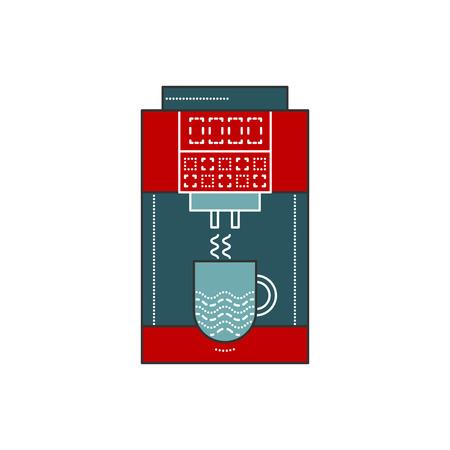 フラット スタイルのコーヒー マシン ベクトル図です。カップ コーヒー マーカー オフィス。コーヒー マシン ホワイト バック グラウンド アイコン