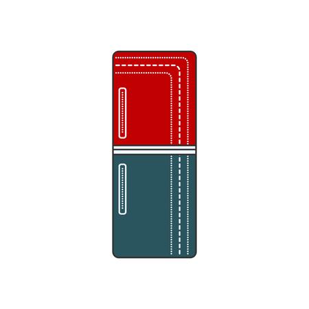 冷蔵庫が閉じられます。冷蔵庫の赤と青のアイコン。隔離冷たいドアの図。レトロな冷蔵庫。