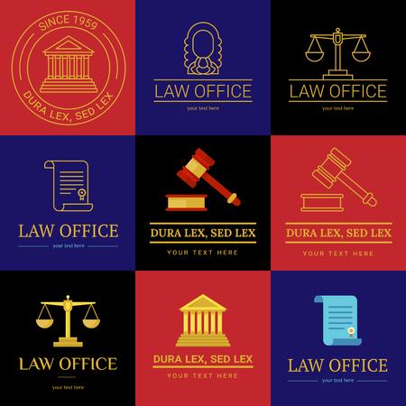 法律事務所のコレクション。裁判官は、法律事務所のテンプレート、ビンテージ ラベルの弁護士セット。ラインは、ハンマー、ロール、体重計テミ 写真素材