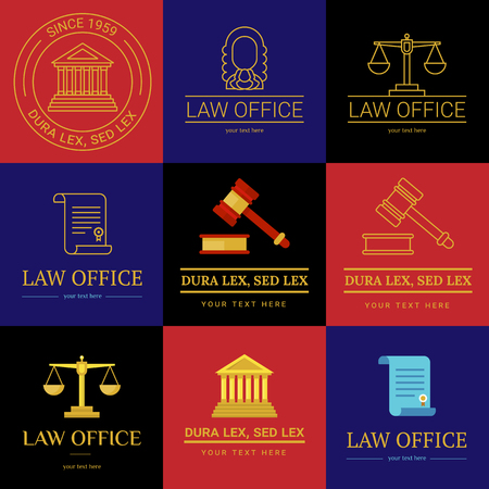 themis: Law office collection. The judge, Law firm  template, lawyer set of vintage labels. Line badges hammer, roll and scales Themis. Dura lex, sed lex quote. Stock Photo