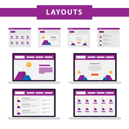 website window: Set of simple flat website templates. Web wireframe vector. Ux interface page design. prototype example. Web layouts on laptop screen