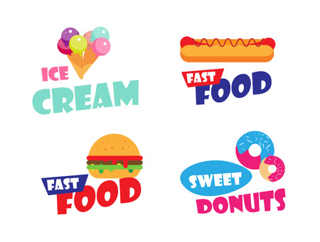 hot dog label: Set of Ice cream, burger, hot dog, fast food label for bakery menu, cafe, restaurant. Sweet donuts emblem template