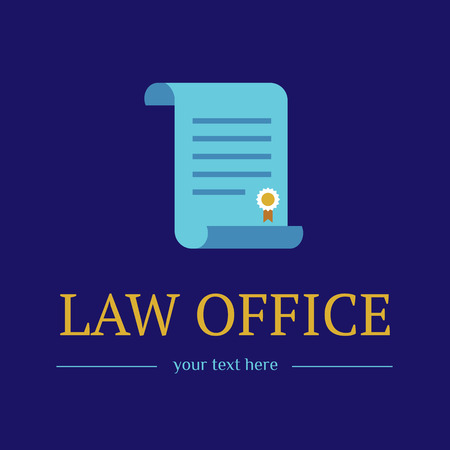 Law office. The judge, Law firm template, lawyer icon of vintage labels. Gold colorful badge roll and. Dura lex, sed lex quote. On blue background