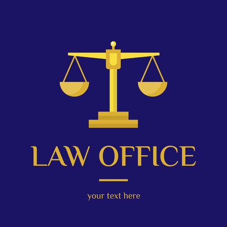 firm: Law office. The judge, Law firm template, lawyer set of vintage labels. Gold scales Themis. Dura lex, sed lex quote. On blue background