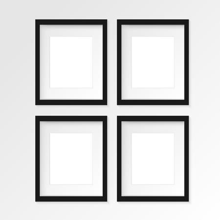 4 本セット リアルな影と灰色の壁に 4 つの黒の垂直写真フレーム。ベクトルの図。2 の行と 2 列
