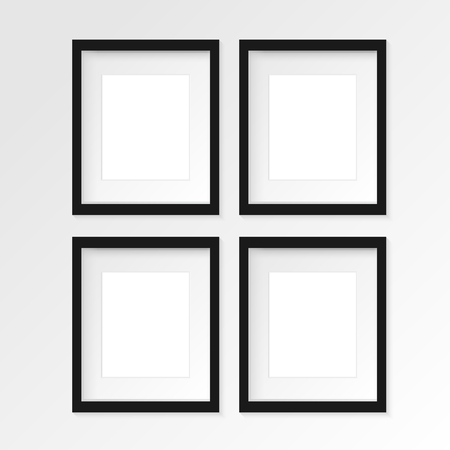 floor mat: Set of 4 four Black vertical photo frame on gray wall with realistic shadows. Vector illustration. 2 rows and 2 columns